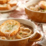 French Onion Soup with Kashkaval Cheese Croutons