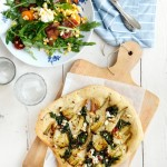 foccacia and salad